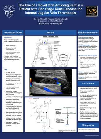 6 - The Use of a Novel Oral Anticoagulant in a Patient with End Stage Renal Disease for Internal Jugular Vein Thrombosis - Siu-Hin Wan